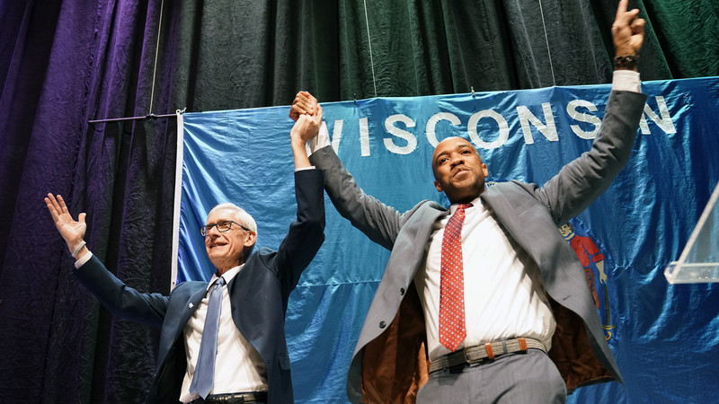 Democratic gubernatorial candidate Tony Evers and lieutenant governor candidate Mandela Barnes