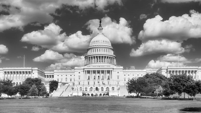 Black and white photograph of the U.S. Capitol Building in Washington D.C.