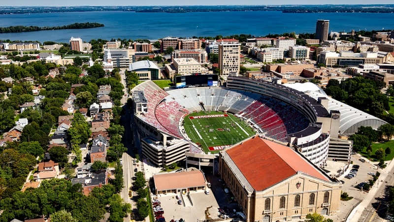 Aerial view of UW Madison campus