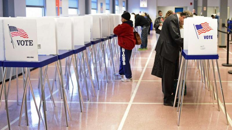 Voters use voting booths on Election Day