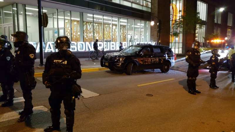 A police car was vandalizedin downtown Madison Saturday night.