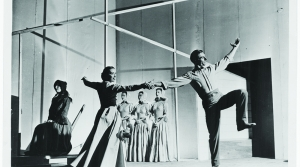 "The Martha Graham Dance Company performs ""Appalachian Spring"" on the stage of the Library's Coolidge Auditorium on Oct. 30, 1944. The Elizabeth Sprague Coolidge Foundation Collection, Music Division."