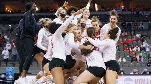 Badger volleyball win over Florida in the NCAA Regional 20-21 final.