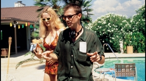 "Actor Heather Graham and Director Paul Thomas Anderson on the set of ""Boogie Nights"""