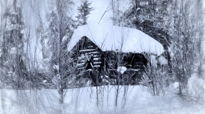 Snowy cabin on a winter's eve