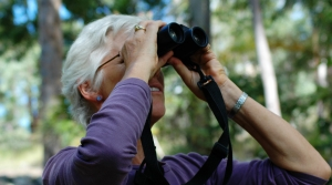 Woman looking through binoculars.