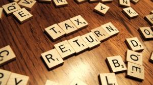 Scrabble tiles spelling tax return
