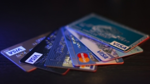 An assortment of credit cards.