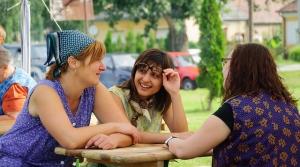 women, talk, conversation, outside