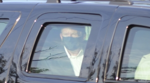 President Trump being driven past supporters outside of hospital
