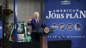 President Joe Biden speaks about infrastructure spending at the La Crosse Municipal Transit Authority