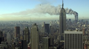 Smoking billowing from the World Trade Center after 2001 attack