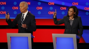 Kamala Harris and Joe Biden during a Democratic presidential debate