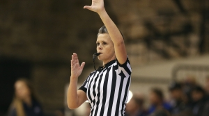 Basketball referee during an NCAA basketball game
