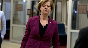 Sen. Tammy Baldwin, D-Wis. talks to reporters
