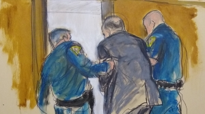 Sketch of Harvey Weinstein led by police officers out of a New York courtroom