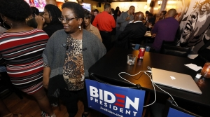 Supporters of Democratic presidential candidate and former Vice President Joe Biden