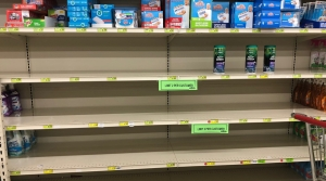 Shelves are largely empty at Woodman's Markets in Kenosha, Wis