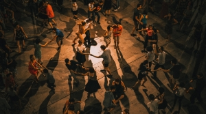 People dancing in the shadow