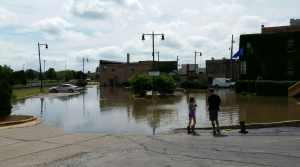 Flooded parking lot in Burlington