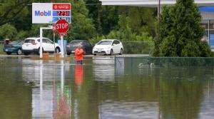 Mobil gas station in Burlington flooded