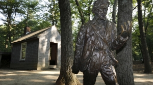 A statue of Henry David Thoreau