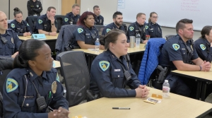 Recruits of the 59th class of the Madison Police Training Academy in the classroom.