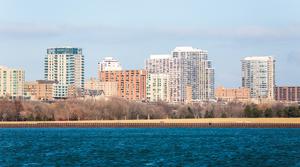 Lake Michigan shoreline in Milwaukee