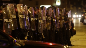 Milwaukee riot police in Sherman Park