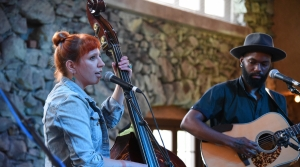 Photo of Johanna Rose and Carl Nichols of Nickel and Rose performing at the 2018 Simply Folk Shindig