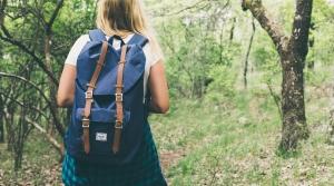 backpacker in woods