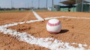 baseball sitting on baseball field