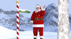 Santa Claus waving from the North Pole.
