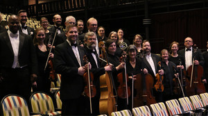 The Eau Claire Chamber Orchestra in the JAMF Theater of the Pablo Center at the Confluence in Eau Claire during the 2019-2021 season.