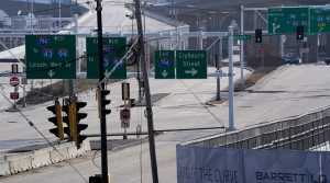 The onramp to the Hoan Bridge is void of traffic
