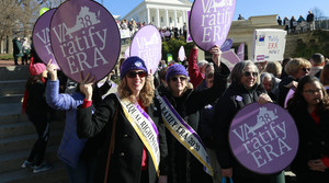 Equal Rights Amendment supporters demonstrate outside Virginia State Capitol