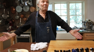 In this Tuesday, June 28, 2011 photo, chef Jacques Pepin speaks with a reporter at his home
