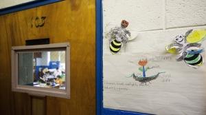 Classwork adorns the hallway outside of an Iaeger Elementary School classroom