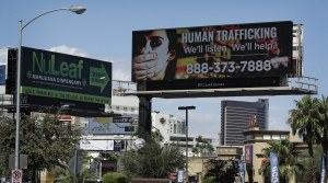 A human trafficking awareness billboard