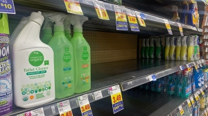 Cleaning supplies shelves at Metro Market on North Van Buren Street in Downtown Milwaukee