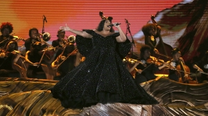 Lizzo performs at the Grammy Awards