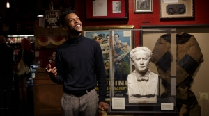 Rajon Lynch stands inside the Houdini Museum of New York