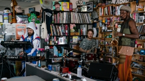 The Comet Is Coming performs during a Tiny Desk concert, on Oct. 2, 2019. (Catie Dull/NPR)