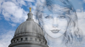 Taylor Swift over the state Capitol