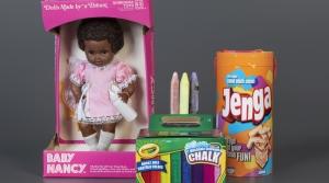Baby Nancy, sidewalk chalk and Jenga