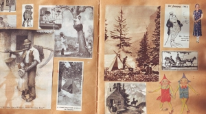 A page from a vintage scrapbook containing photos and cut-out images.