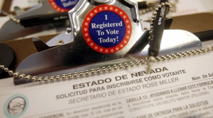 Spanish version of a Nevada voter registration form is seen in Las Vegas