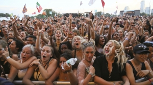 Crowds cheer at music festival