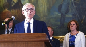 Governor Tony Evers at a press conference