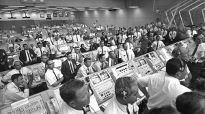 Launch controllers in the firing room at the Kennedy Space Center in Florida during the Apollo 11 mission to the moon.